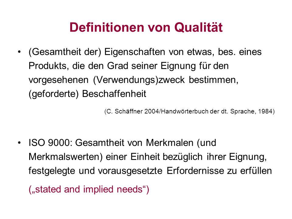 Definitionen von Qualität