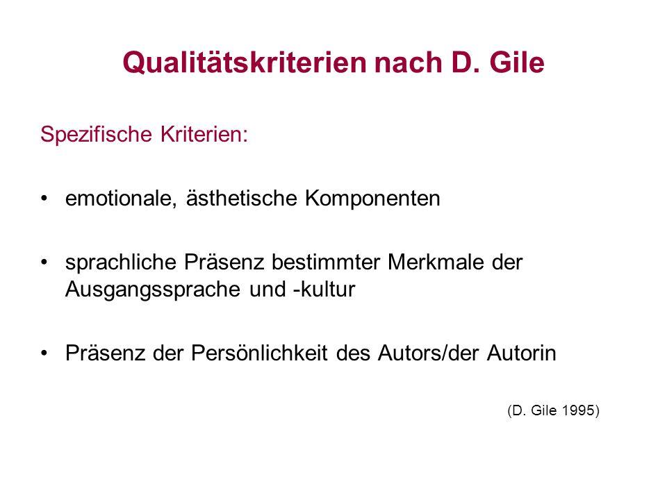 Qualitätskriterien nach D. Gile