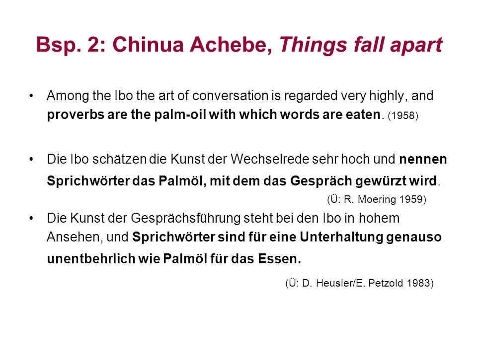 Bsp. 2: Chinua Achebe, Things fall apart