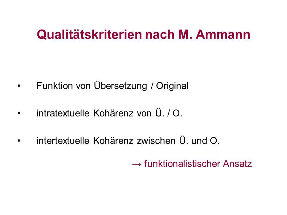 Qualitätskriterien nach M. Ammann