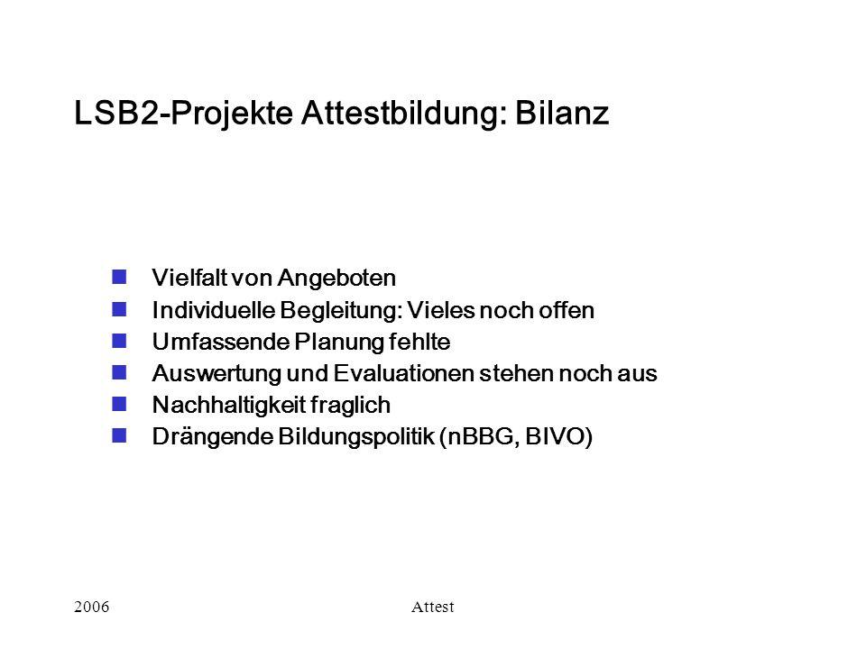 LSB2-Projekte Attestbildung: Bilanz