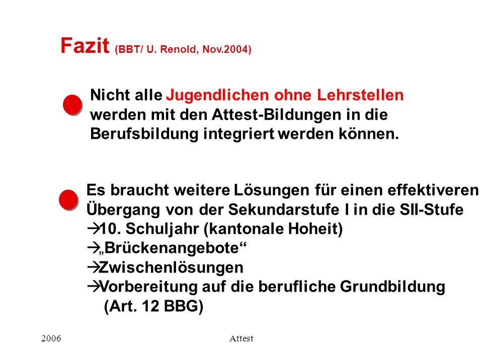 Fazit (BBT/ U. Renold, Nov.2004)