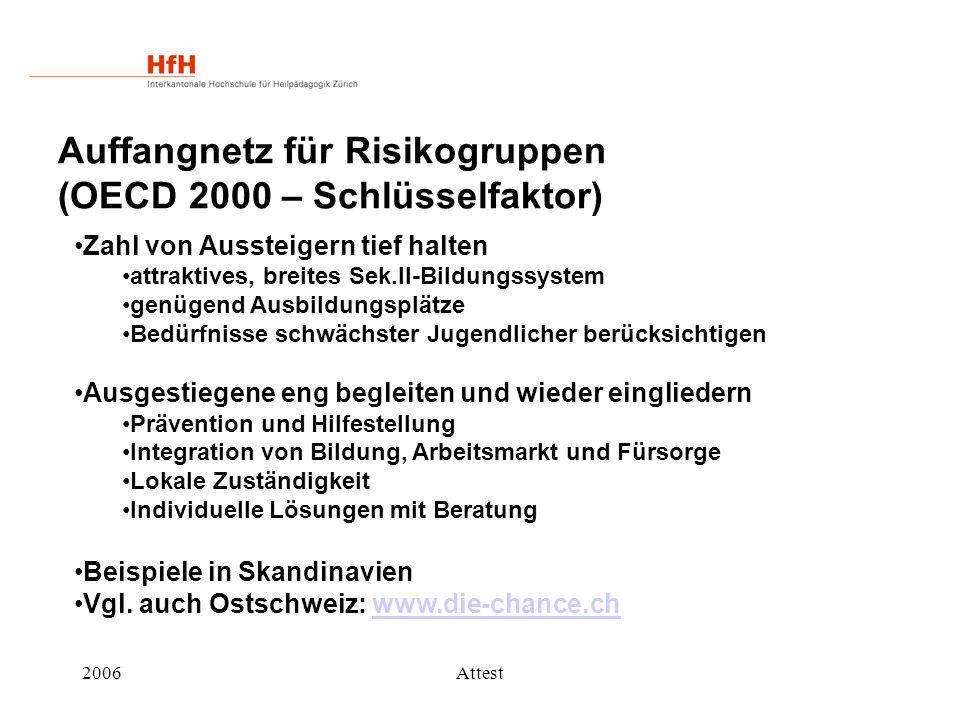 Auffangnetz für Risikogruppen (OECD 2000 – Schlüsselfaktor)