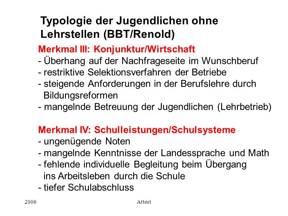 Typologie der Jugendlichen ohne Lehrstellen (BBT/Renold)