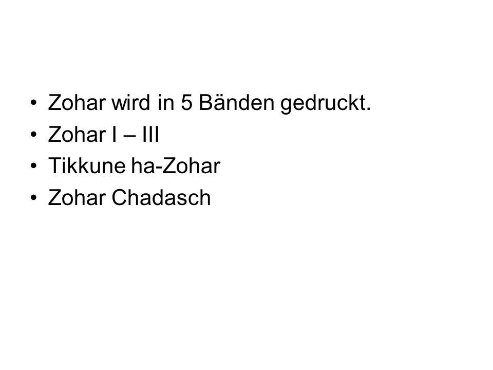 Zohar wird in 5 Bänden gedruckt.