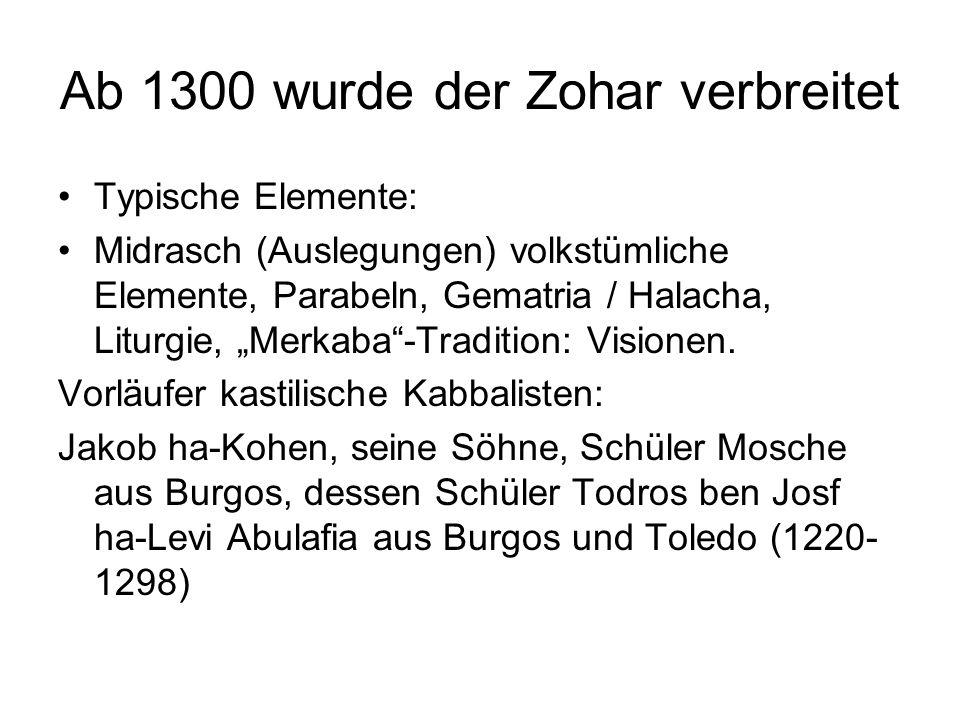 Ab 1300 wurde der Zohar verbreitet