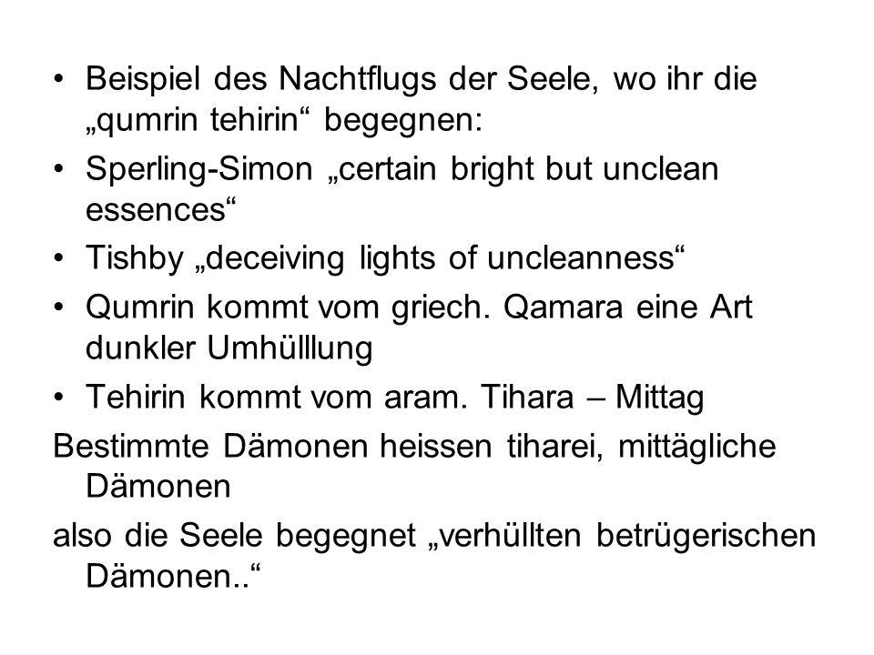 """Beispiel des Nachtflugs der Seele, wo ihr die """"qumrin tehirin begegnen:"""
