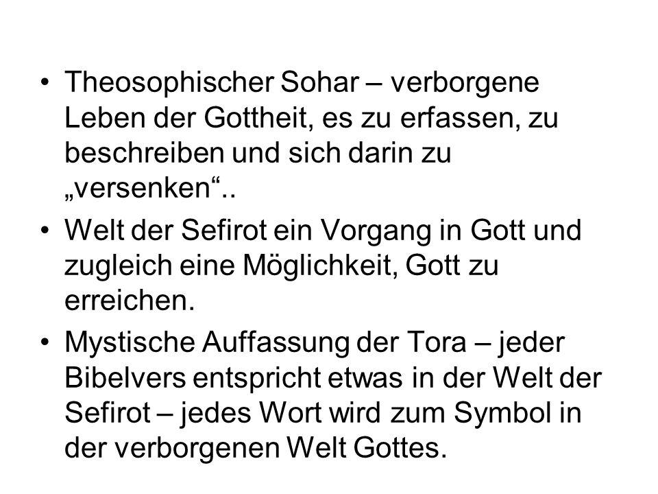 """Theosophischer Sohar – verborgene Leben der Gottheit, es zu erfassen, zu beschreiben und sich darin zu """"versenken .."""