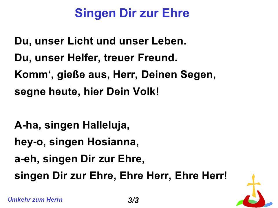 Singen Dir zur Ehre Du, unser Licht und unser Leben.