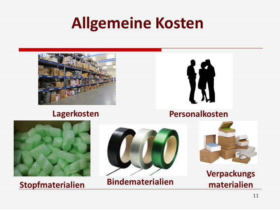 Allgemeine Kosten Lagerkosten Personalkosten Verpackungs materialien