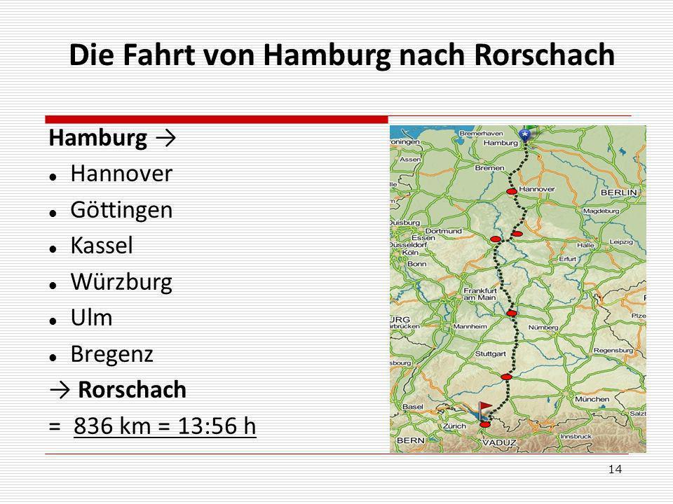 Die Fahrt von Hamburg nach Rorschach