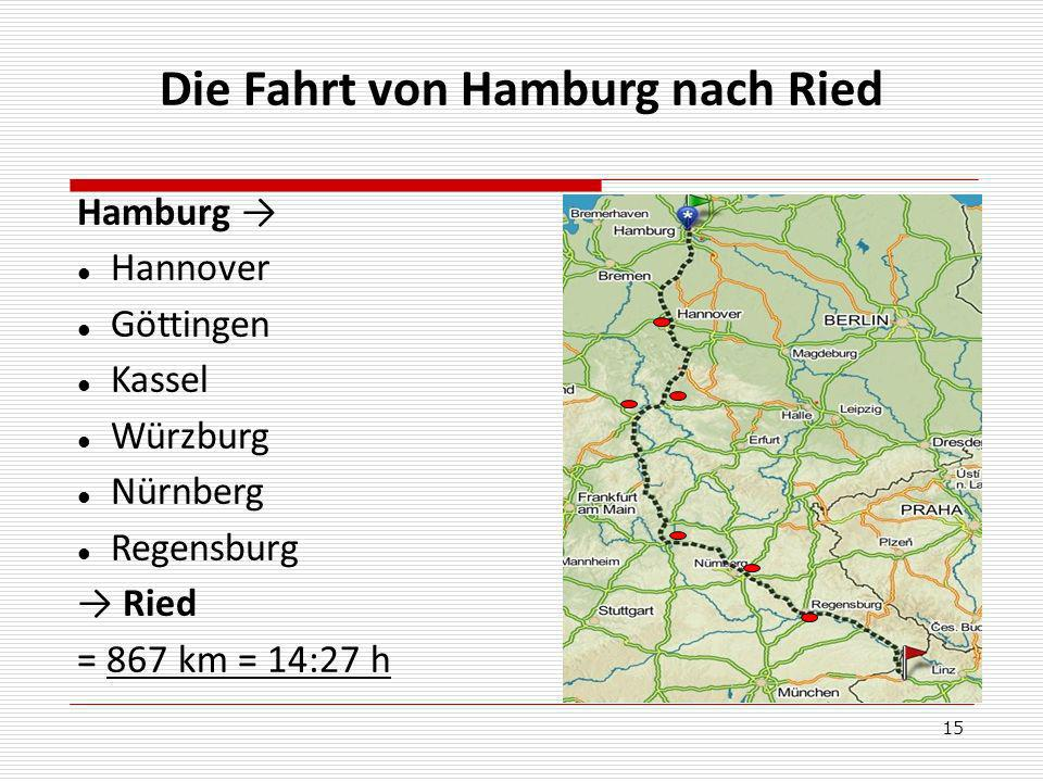 Die Fahrt von Hamburg nach Ried