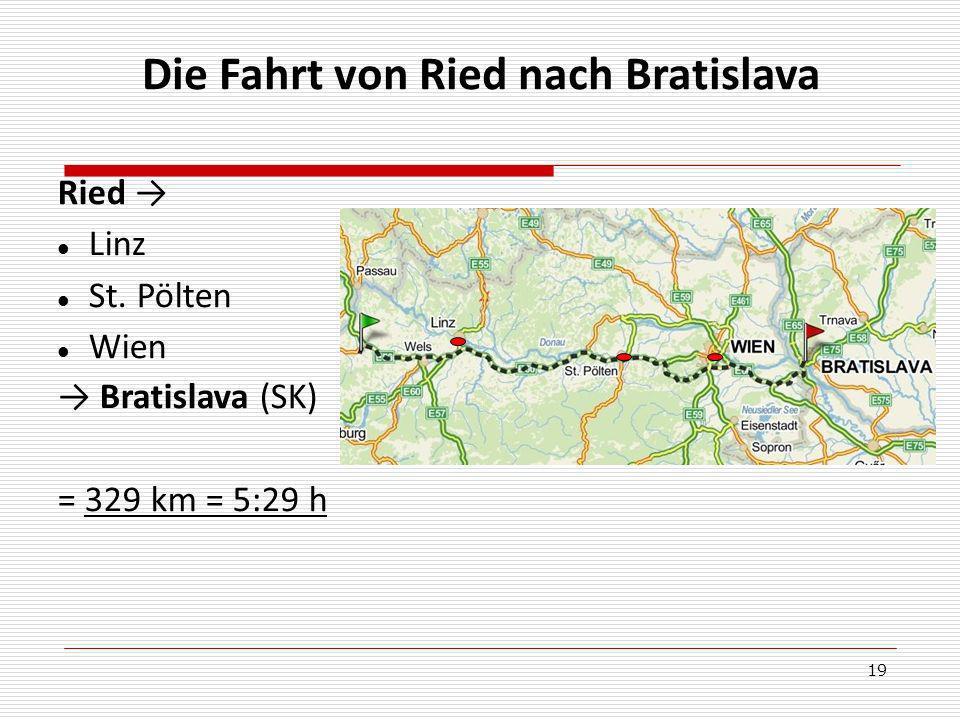 Die Fahrt von Ried nach Bratislava