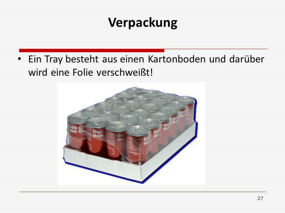 Verpackung Ein Tray besteht aus einen Kartonboden und darüber wird eine Folie verschweißt!