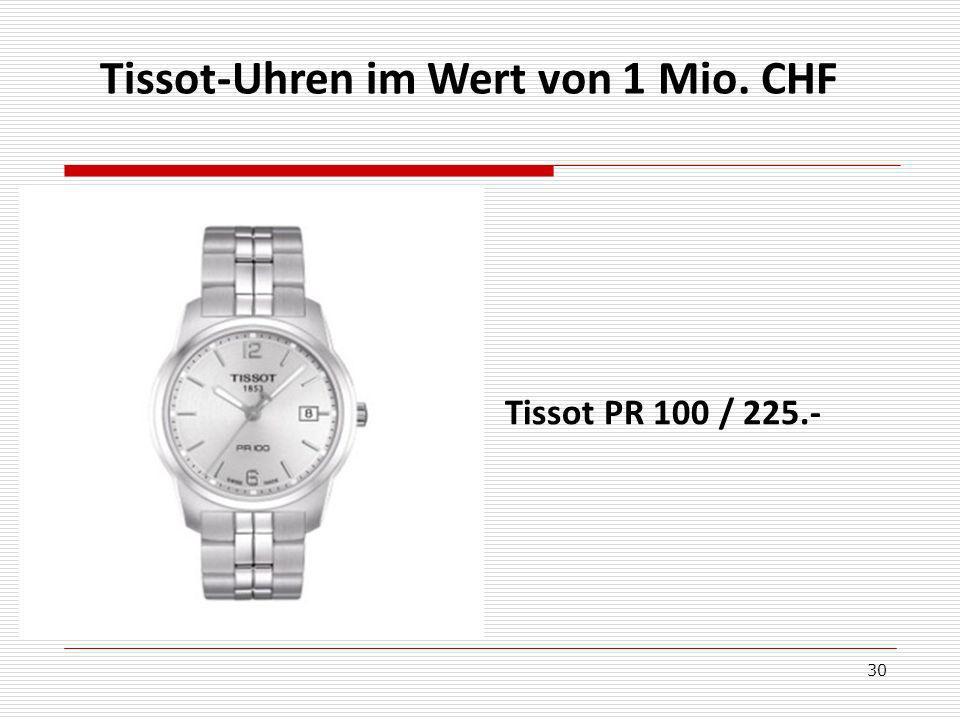 Tissot-Uhren im Wert von 1 Mio. CHF