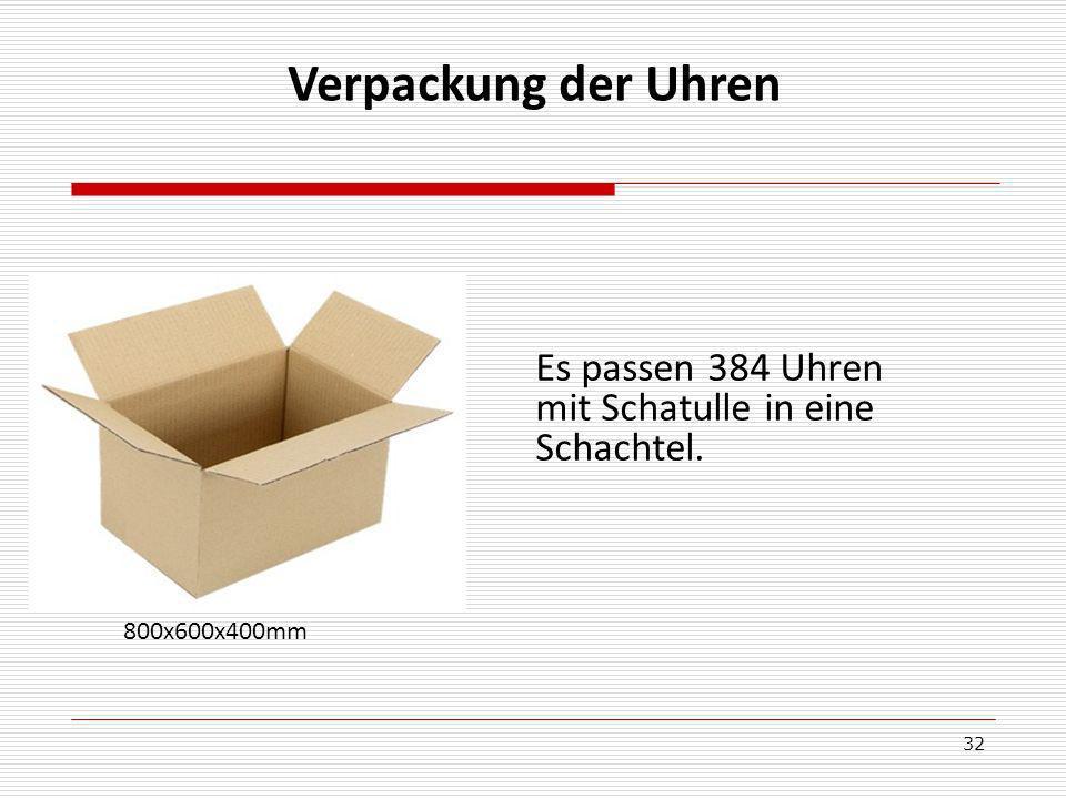 Verpackung der Uhren Es passen 384 Uhren mit Schatulle in eine Schachtel. 800x600x400mm