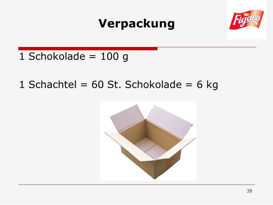 Verpackung 1 Schokolade = 100 g 1 Schachtel = 60 St. Schokolade = 6 kg