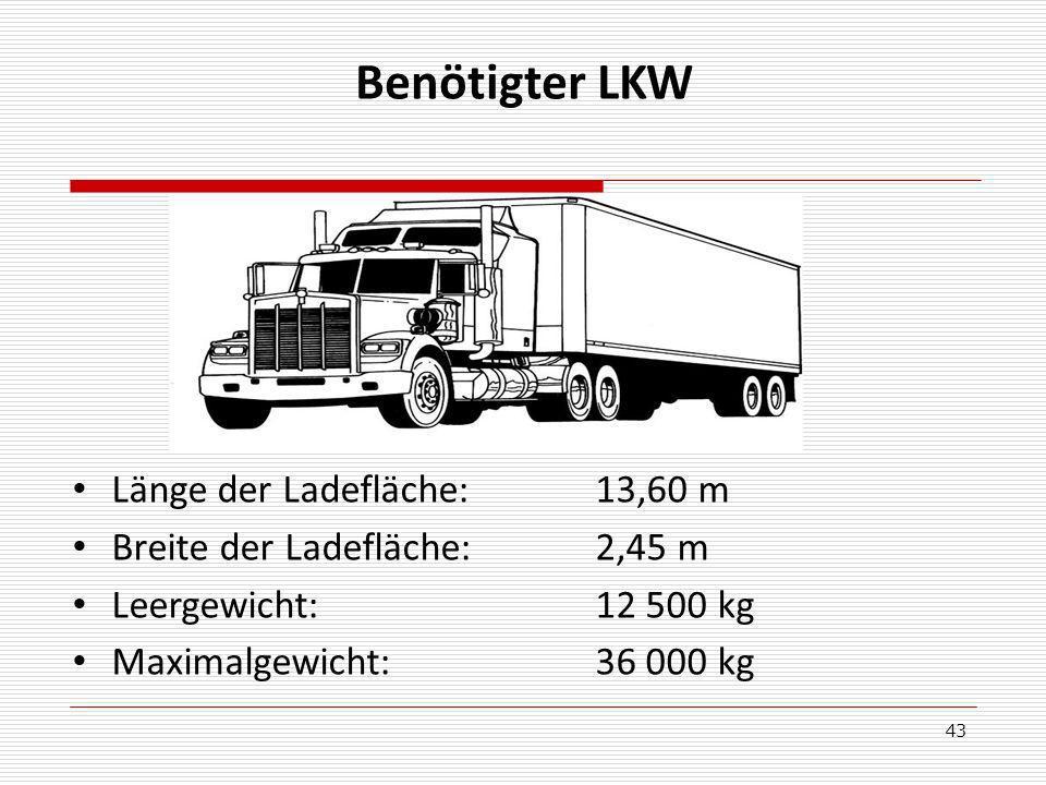 Benötigter LKW Länge der Ladefläche: 13,60 m