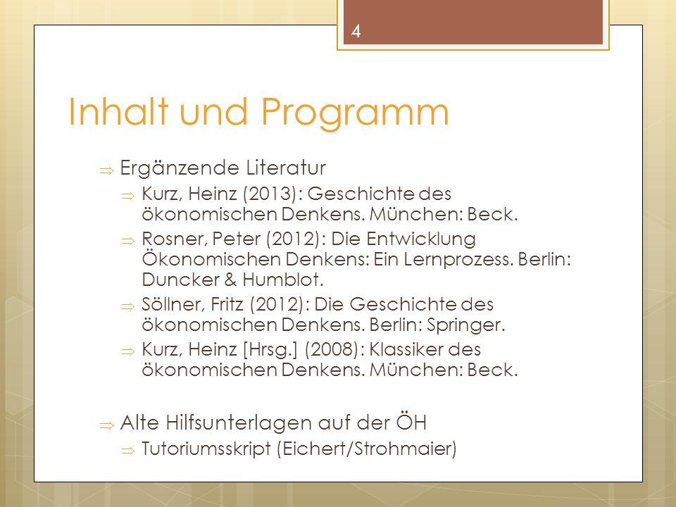 Inhalt und Programm Ergänzende Literatur