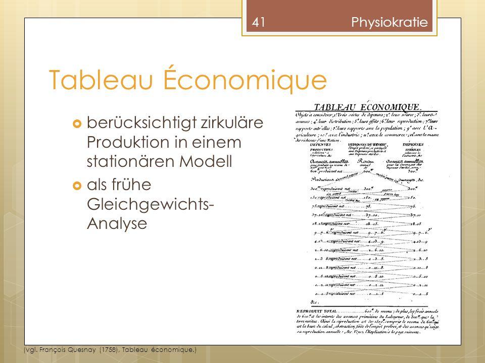 Physiokratie Tableau Économique. berücksichtigt zirkuläre Produktion in einem stationären Modell.