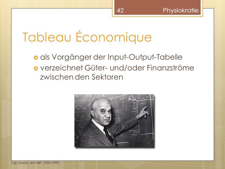 Tableau Économique als Vorgänger der Input-Output-Tabelle