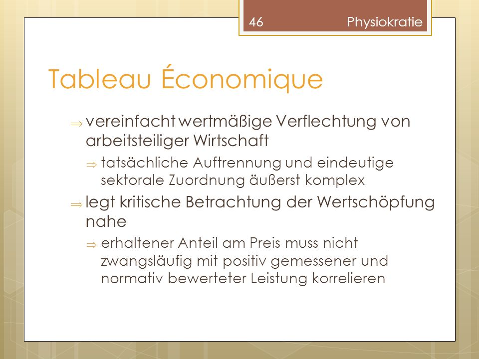 Physiokratie Tableau Économique. vereinfacht wertmäßige Verflechtung von arbeitsteiliger Wirtschaft.