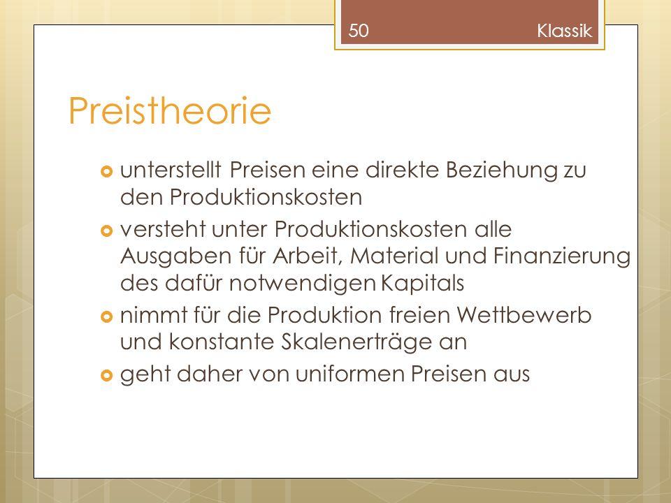Klassik Preistheorie. unterstellt Preisen eine direkte Beziehung zu den Produktionskosten.