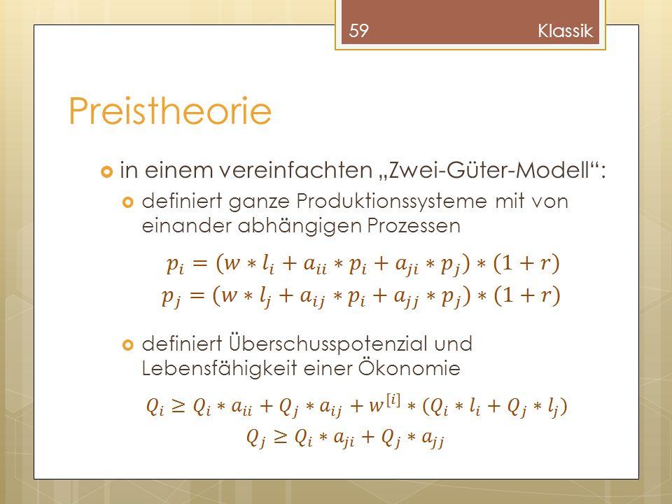 """Preistheorie in einem vereinfachten """"Zwei-Güter-Modell :"""