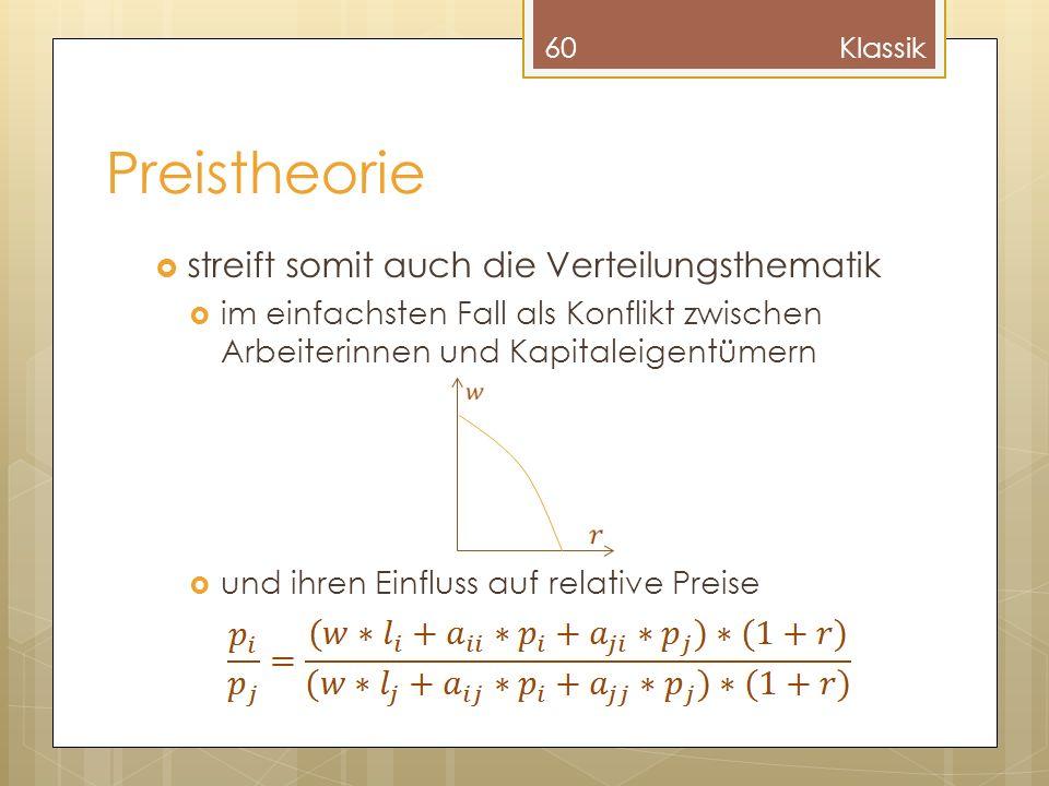Preistheorie streift somit auch die Verteilungsthematik