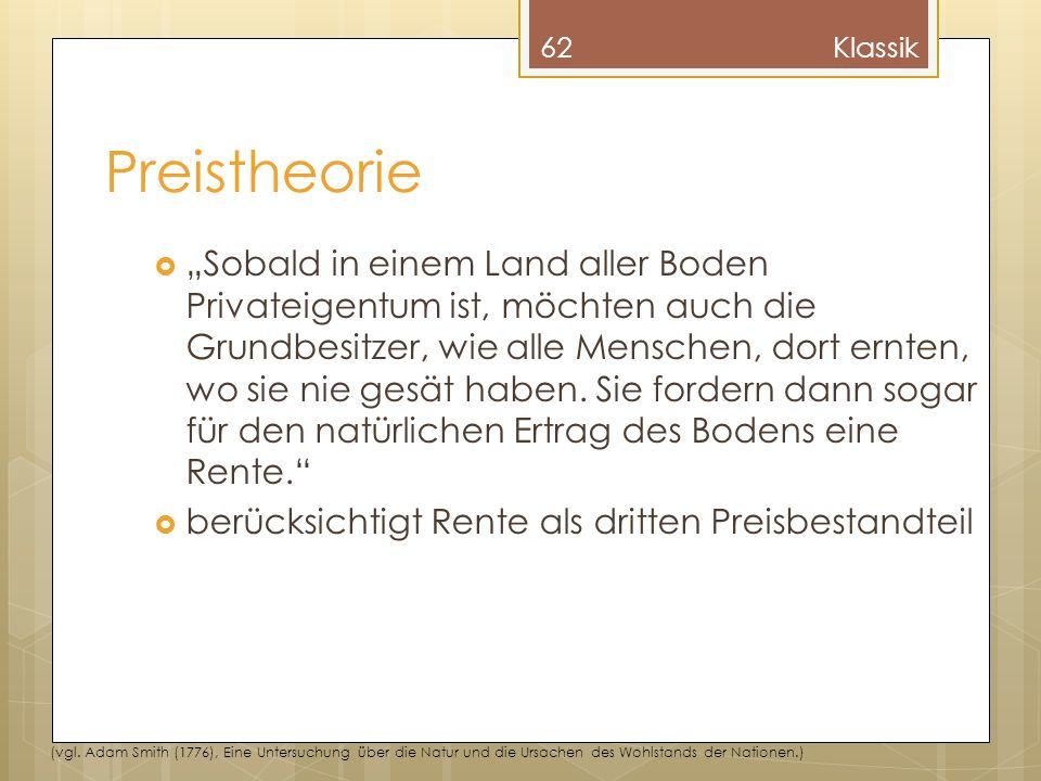 Klassik Preistheorie.