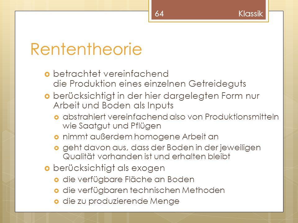 Klassik Rententheorie. betrachtet vereinfachend die Produktion eines einzelnen Getreideguts.
