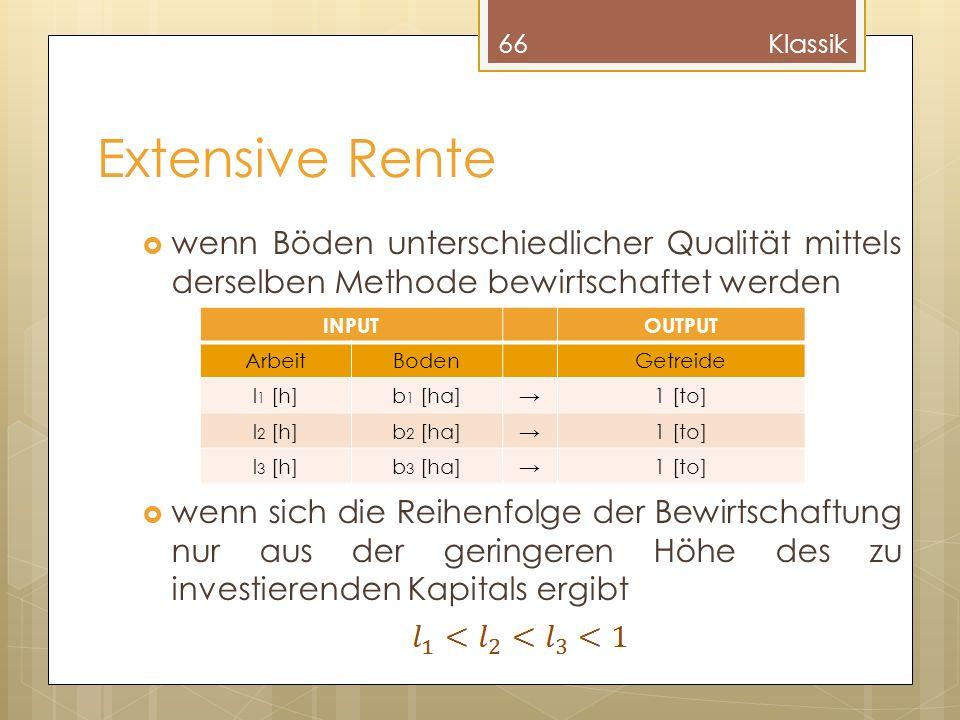 Klassik Extensive Rente. wenn Böden unterschiedlicher Qualität mittels derselben Methode bewirtschaftet werden.