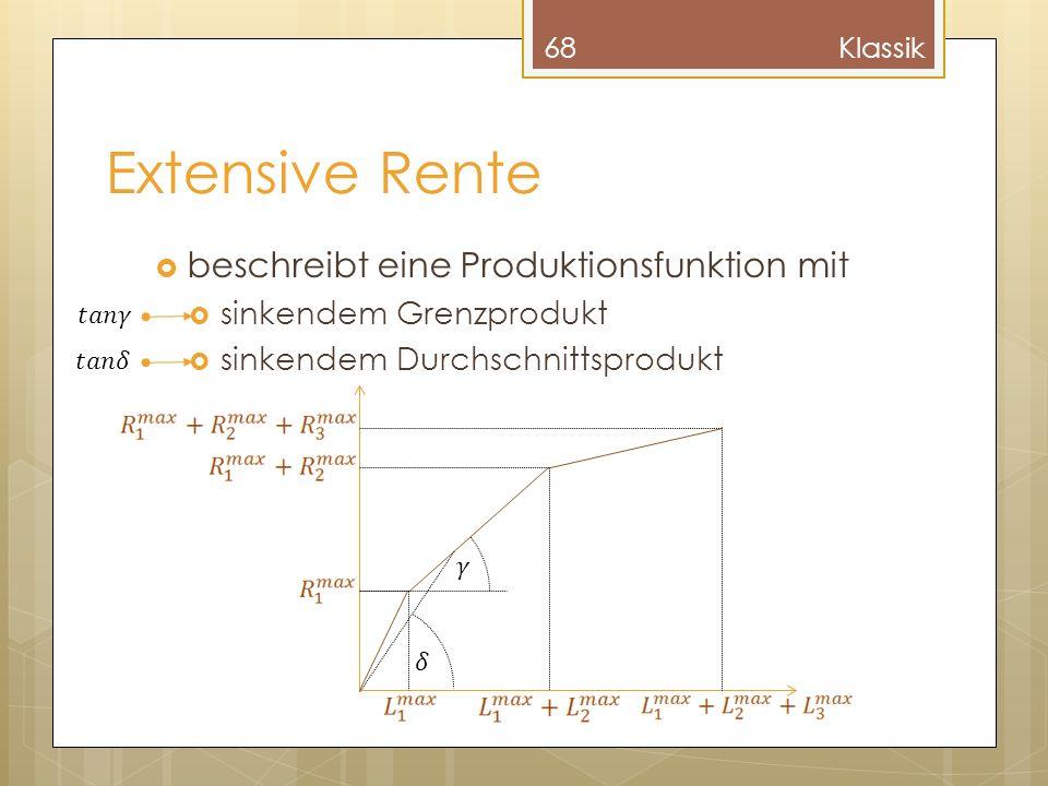 Extensive Rente beschreibt eine Produktionsfunktion mit