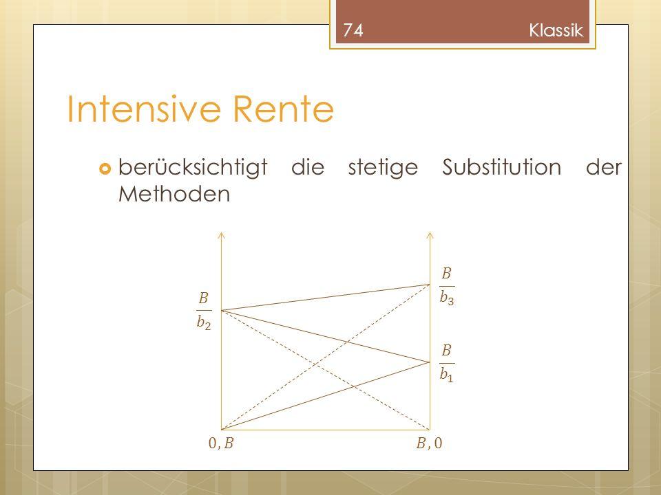 Intensive Rente berücksichtigt die stetige Substitution der Methoden