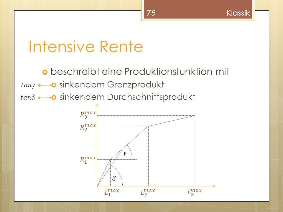 Intensive Rente beschreibt eine Produktionsfunktion mit