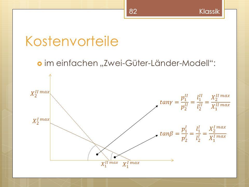 """Klassik Kostenvorteile im einfachen """"Zwei-Güter-Länder-Modell :"""