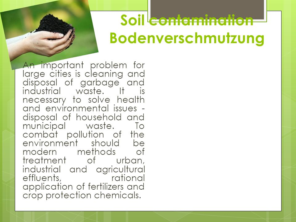 Soil contamination Bodenverschmutzung