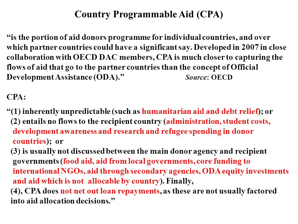 Country Programmable Aid (CPA)