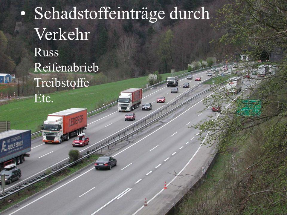 Schadstoffeinträge durch Verkehr Russ Reifenabrieb Treibstoffe Etc.