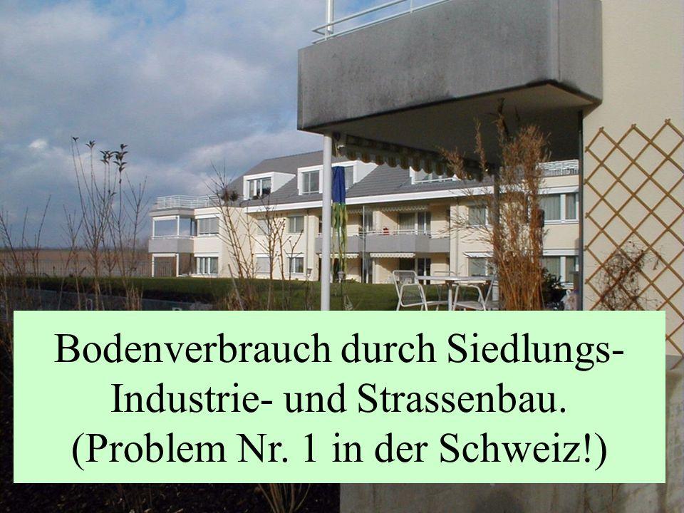 Bodenverbrauch durch Siedlungs- Industrie- und Strassenbau. (Problem Nr. 1 in der Schweiz!)