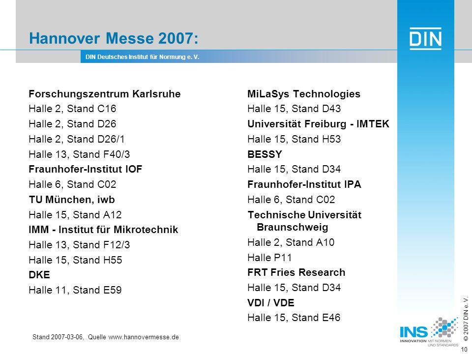 Hannover Messe 2007: Forschungszentrum Karlsruhe Halle 2, Stand C16