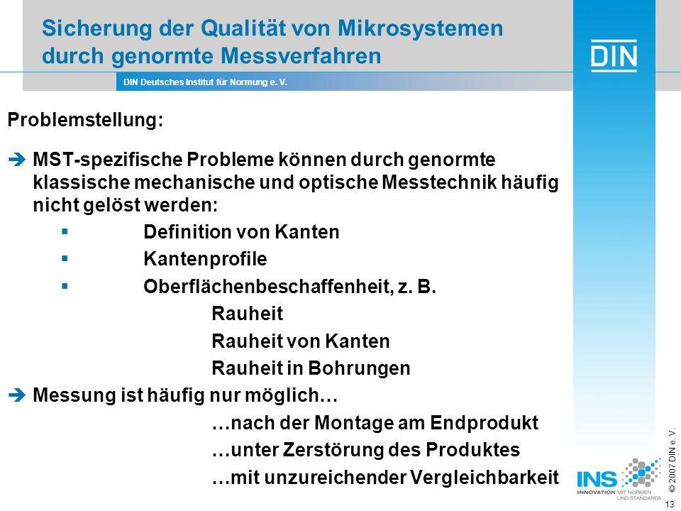 Sicherung der Qualität von Mikrosystemen durch genormte Messverfahren