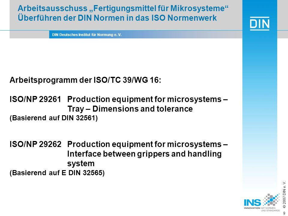 Arbeitsprogramm der ISO/TC 39/WG 16:
