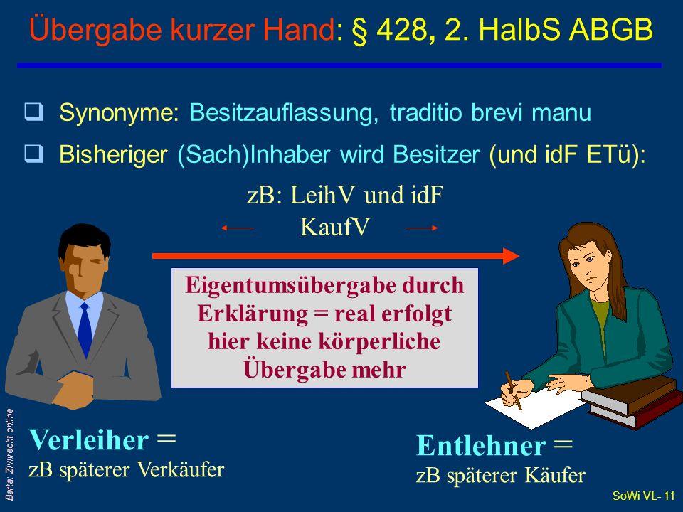 Übergabe kurzer Hand: § 428, 2. HalbS ABGB
