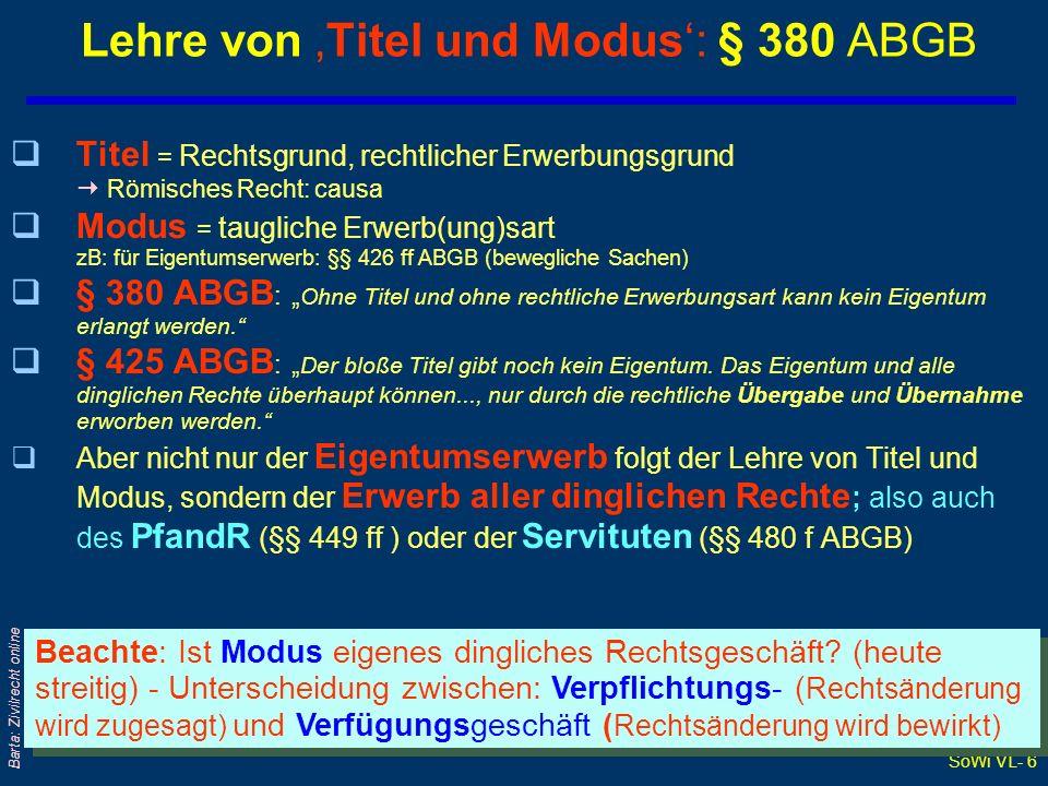 Lehre von 'Titel und Modus': § 380 ABGB