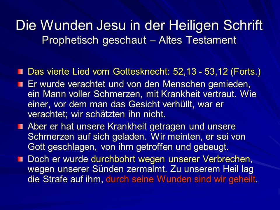 Die Wunden Jesu in der Heiligen Schrift Prophetisch geschaut – Altes Testament