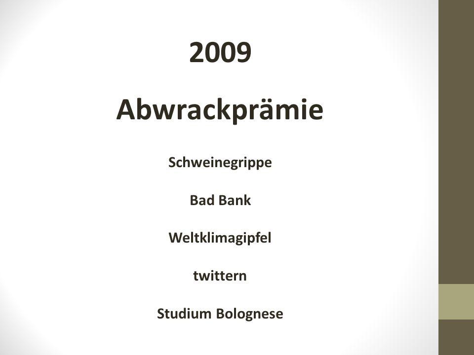 2009 Abwrackprämie Schweinegrippe Bad Bank Weltklimagipfel twittern