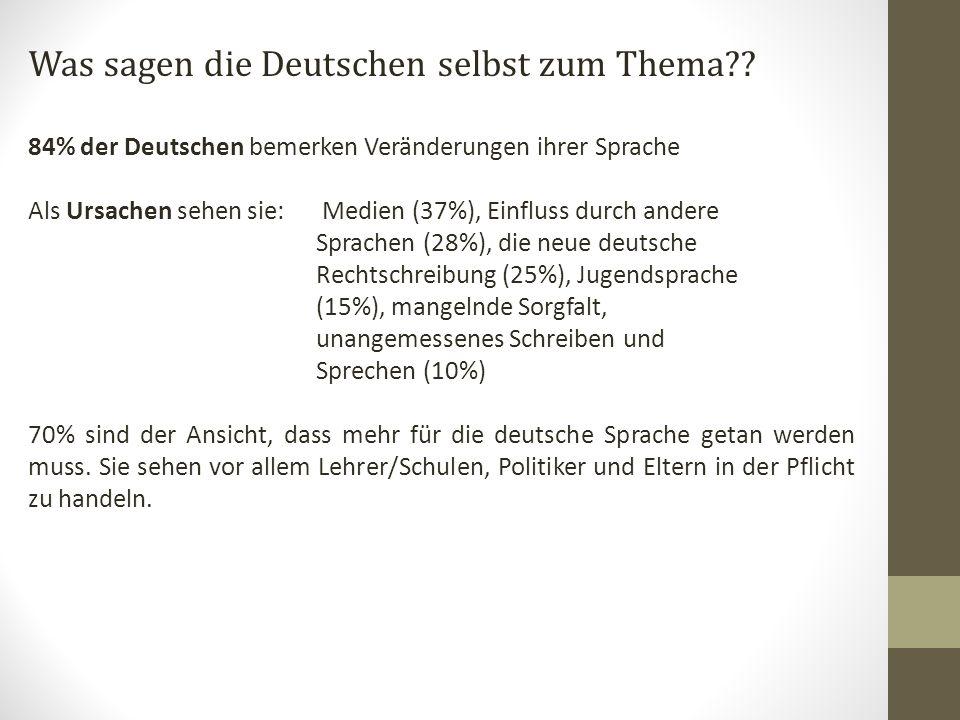 Was sagen die Deutschen selbst zum Thema