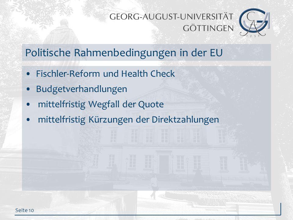 Politische Rahmenbedingungen in der EU