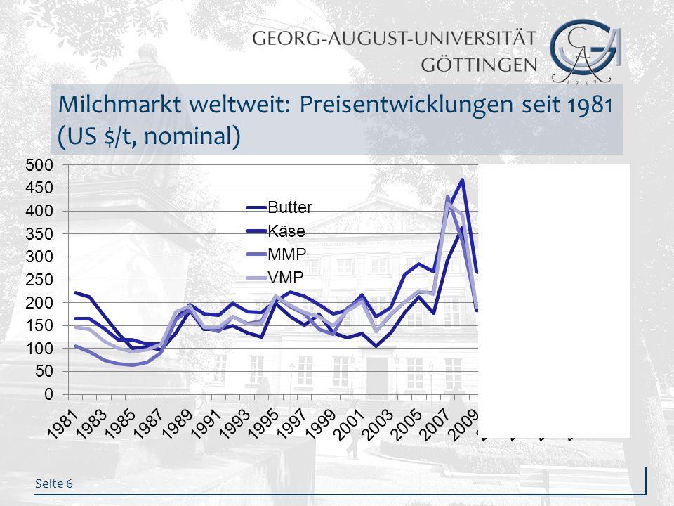 Milchmarkt weltweit: Preisentwicklungen seit 1981 (US $/t, nominal)